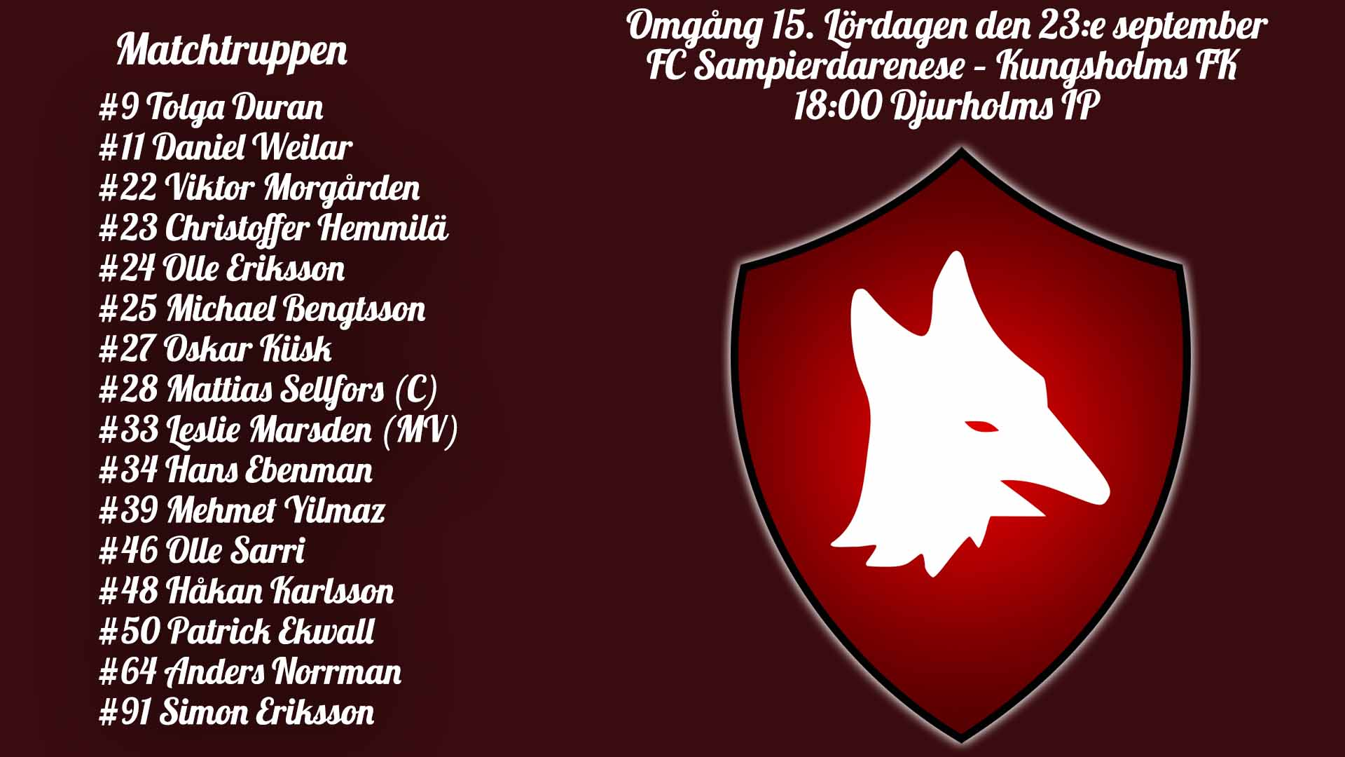 Inför: FC Sampierdarenese – Kungsholms FK