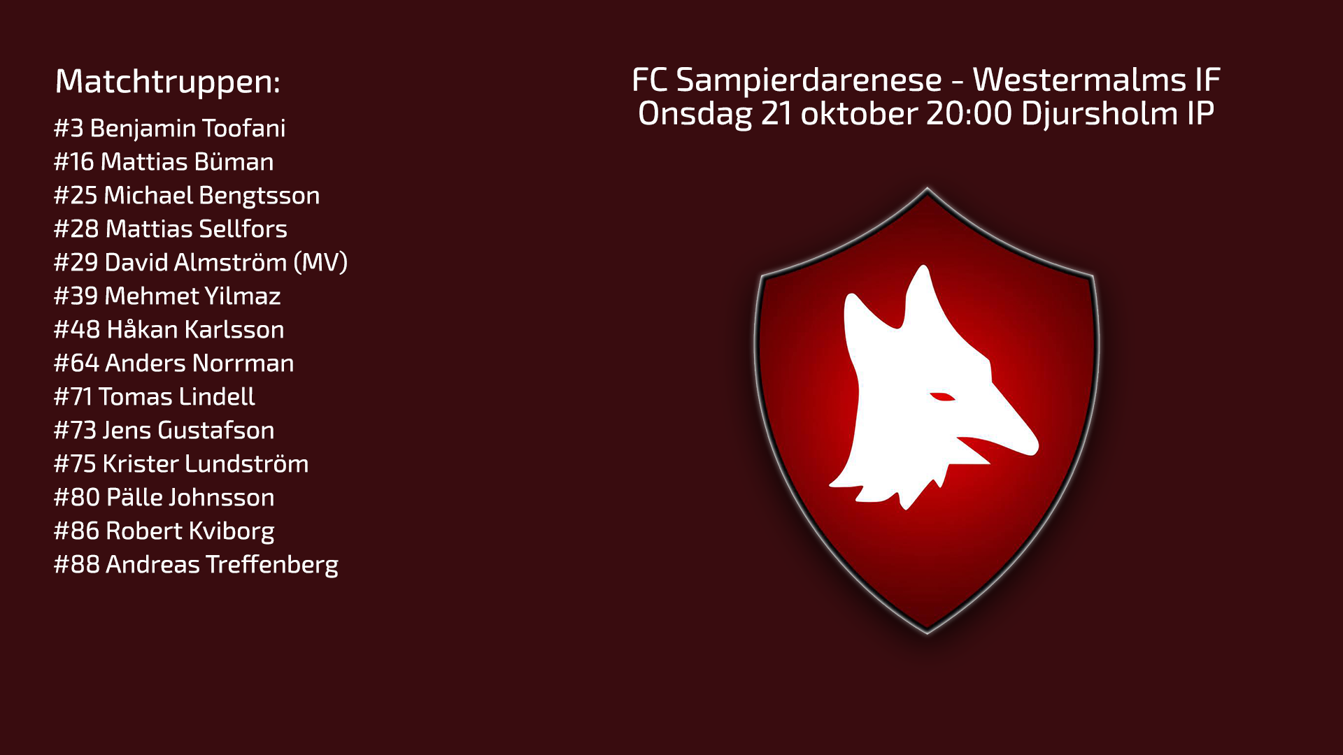 Inför FC Samp – Westermalms IF