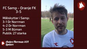 Matchrapport: FC Samp – Oranje FK