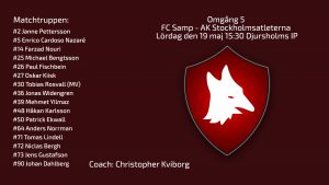 Omgång 5. Inför FC Samp – AK Stockholmsatleterna